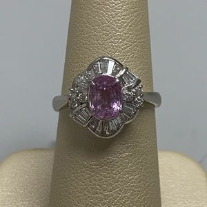 Jewelry - Platinum Pink Sapphire and Diamond Ring Size 5 1/2